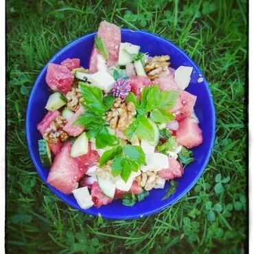 Melonensalat mit Giersch Bild Sandra Merk
